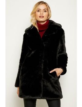 Black Faux Fur Coat by Sosandar