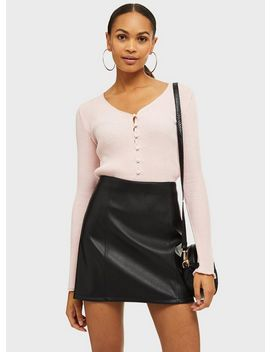 Pink Button Crop Knitted Cardigan by Miss Selfridge