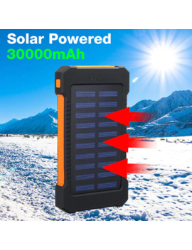 Top 30000mah Solar Power Bank Waterproof Solar Charger 2 Usb Ports Travel External Charger Powerbank With Compasses Led Light by Ali Express.Com