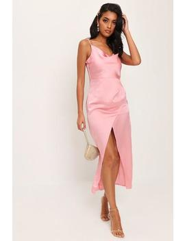 Rose Pink Cowl Neck Satin Maxi Dress by I Saw It First