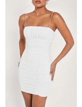 Celena Ruched Thin Strap Mini Dress   White by Meshki