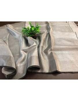 Gray Linen Tissue Saree,Organic Handwoven Linen Tissue Saree With Black Line Border,Gray Tissue Linen Saree,Indian Saree,Gray Saree Blouse by Etsy