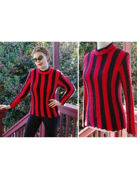 Circus 1960's Vintage Bright Red + Black Striped Acrylic Sweater W/ Mock Neck Collar + Zigzag Edges // Size Medium // Handmade by Etsy