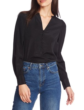 Dot Jacquard Button Front Top by 1.State