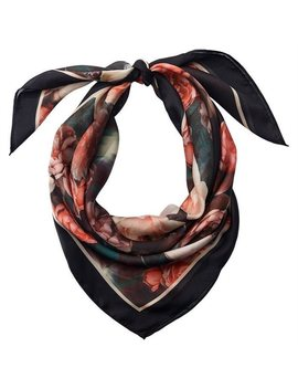 Love And Lore Silky Foulard Scarf Rose Garden Black by Love & Lore