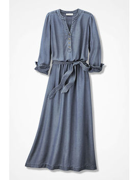 Blue Melody Tencel® Twill Dress by Coldwater Creek
