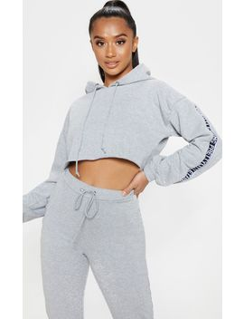 Prettylittlething Petite Grey Marl  Cropped Hoodie by Prettylittlething