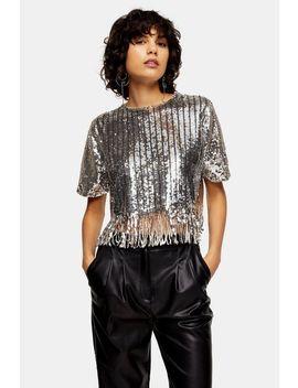 Silver Stripe Sequin Fringe Top by Topshop