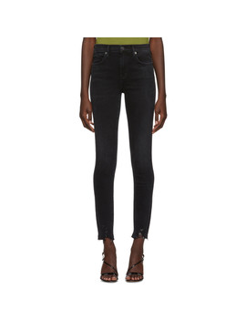 Black Sophie Mid Rise Ankle Jeans by Agolde