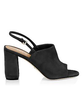 Block Heel Suede Slingback Sandals by Prada