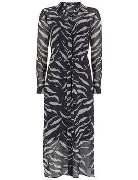 Nadine Zebra Belted Midi Dress by Mint Velvet