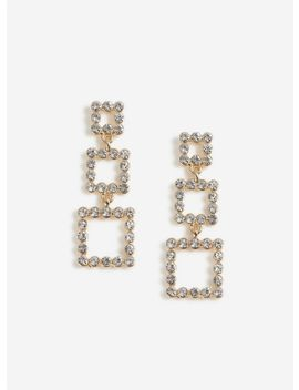 Gold Rhinestone Square Earrings by Miss Selfridge