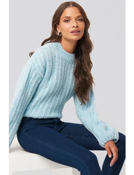 Round Neck Heavy Knit Sweater Blauw by Na Kd