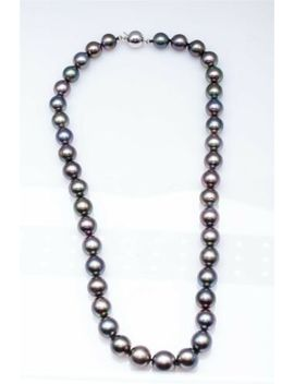 "Estate $7000 10mm Tahitian Green Grey Peacock Pearl 14k White Gold 18"" Necklace by Ebay Seller"