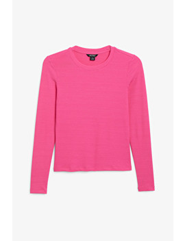Long Sleeved Fitted Top by Monki