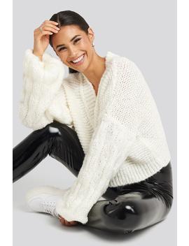 Bulky Sleeve Heavy Knit Sweater Wit by Gerdaxnakd