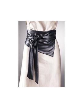 Leather Look Wide Black Belt / Fabric Belt, Wide Belt,Long Belt, Infinity Belt,Womens Black Belt,Thick Black Belt by Etsy