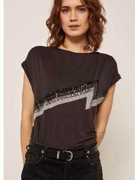 Grey Sequin Lightning T Shirt by Mint Velvet