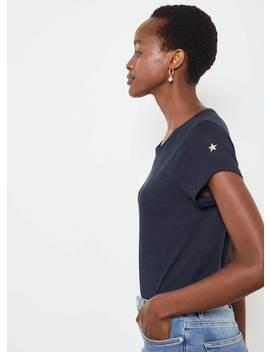 Navy Cotton Star T Shirt by Mint Velvet