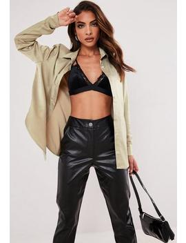 Green Satin Slim Fit Shirt by Missguided