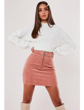 Petite Pink Co Ord Cord Zip Front Mini Skirt by Missguided