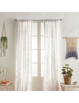 Bessie 100% Cotton Geometric Semi Sheer Rod Pocket Curtain Panels by Bungalow Rose