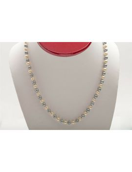 "Designer $3000 Cultured 5mm Black And White Pearl 14k Yellow Gold 17"" Necklace by Ebay Seller"