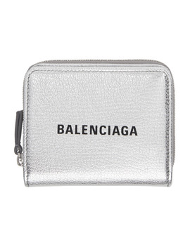 Silver & Black Small Square Logo Wallet by Balenciaga