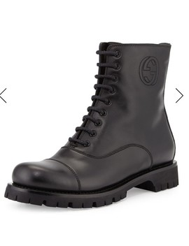 Black Combat Boots/Booties by Gucci