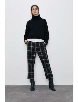 Check Trousers With Turn by Zara