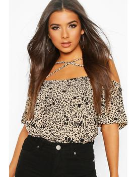 Leopard Woven Cross Front Cold Shoulder Cami by Boohoo