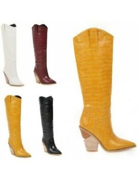 New Womens Western Trendy Cowboy Pointed Toe Knee High Pull On Riding Boots Club by Unbranded