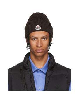 Brown Knit Beanie by Moncler