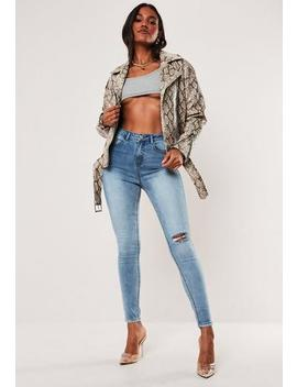 Blue Sinner High Waisted Busted Knee Denim Jeans by Missguided