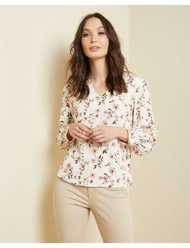 Puffy Sleeve V Neck Blouse by Rw & Co