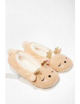Plush Reindeer Slippers by Forever 21