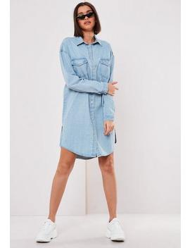 Blue Denim Shirt Dress by Missguided