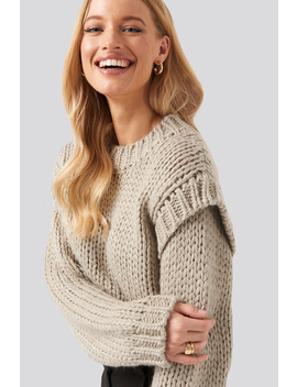 Shoulder Detail Knitted Sweater Beige by Na Kd Trend