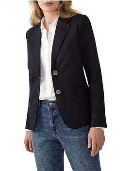 Textured Cotton Classic Blazer by Trenery