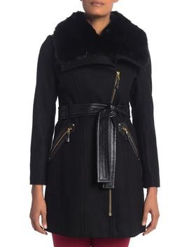 Uptown Kate Faux Fur Collar Wool Blend Coat (Petite) by Via Spiga