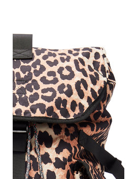 Leopard Print Shell Backpack by Ganni