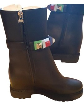 Black W W.Bootie/Calf Leather/Rubb Sole + Multicolor Boots/Booties by Fendi