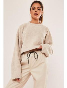 Tall Stone Borg Teddy Cropped Sweatshirt by Missguided