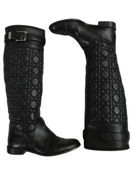 Black Quilted Cannage Nappa Leather Boots/Booties by Dior
