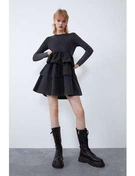 Washed Effect Ruffled Dress by Zara