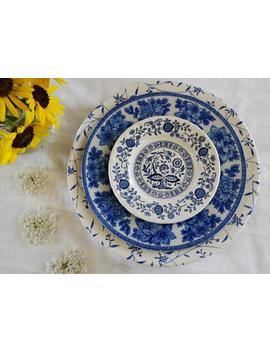 Mismatched Place Setting 3 Piece Set Dinner Salad Bread/Butter Plates Blue White England Japan U S A Vintage China Wedding Shower Tea Party by Etsy
