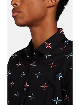 Clayton Folkloric Embroidered Slub Cotton Shirt by John Varvatos Star U.S.A.