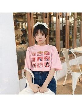 Kawaii T Shirt Summer Women Tops 2018 Casual Harajuku Sweet Print Sailor Moon Loose Short Sleeve Plus Size Tee Shirt Femme by Ali Express.Com