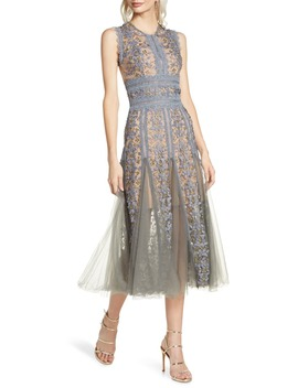 Megan Grey Floral Lace Midi Dress by Bronx And Banco