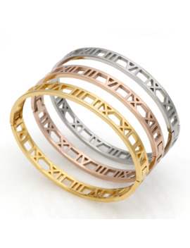 Delicate Hollow Roman Numeral Bracelets & Bangles Titanium Steel Bangle Fine Jewelry For Women Vacuum Plating Bangle Top Quality by Ali Express.Com